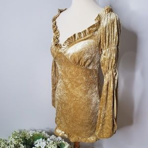 Mustard yellow velour costume dress-M